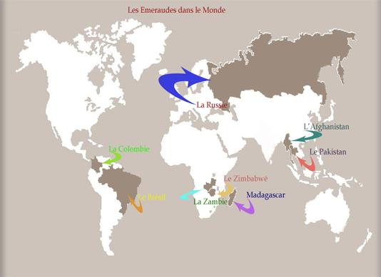 les émeraudes dans le monde