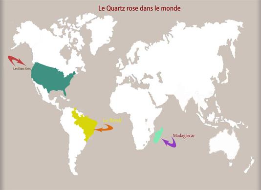 les gisements de quartz rose dans le monde