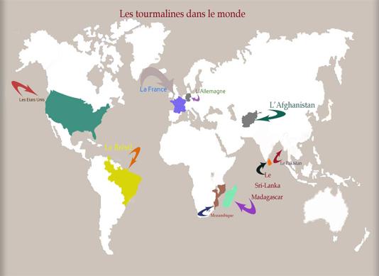 les tourmalines noire dans le monde